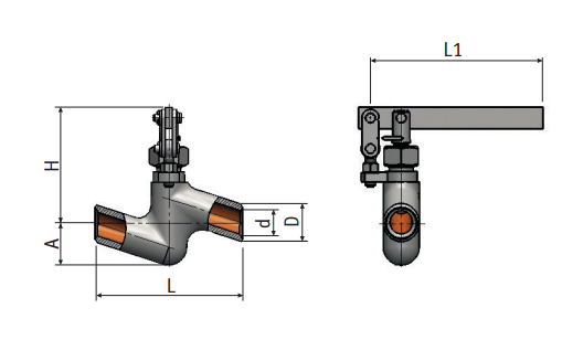 Regulating needle valve with lever actuation 9с3-3-2 picture