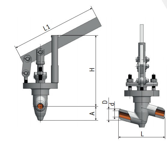 Regulating needle valve with lever actuation 9с-5-1 picture